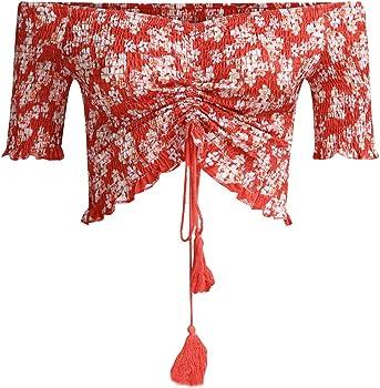 Camisas para Mujeres, Mujeres Floral Impresión Corbata Camisa ...