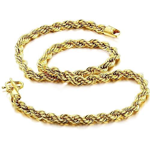 più recente 8e5df b4e26 Fate Love, collana intrecciata, in argento placcato oro 18 K, tagliata al  diamante, di lusso, stile bling, da uomo, lunga 47 cm
