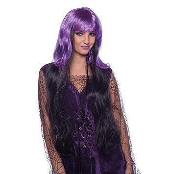 Folat Peluca Bruja Púrpura Negro Halloween