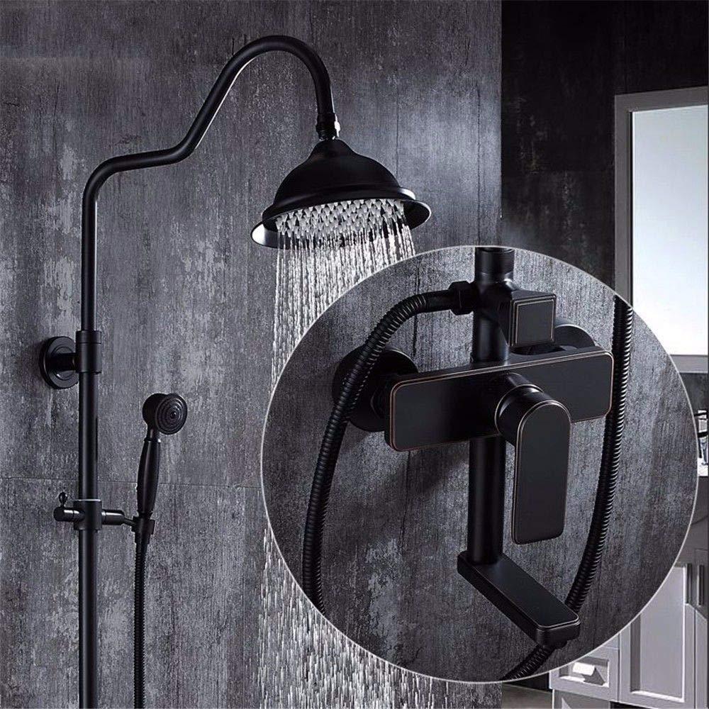 H Hlluya Professional Sink Mixer Tap Kitchen Faucet Black shower antique shower kit full copper shower faucet can lift,H