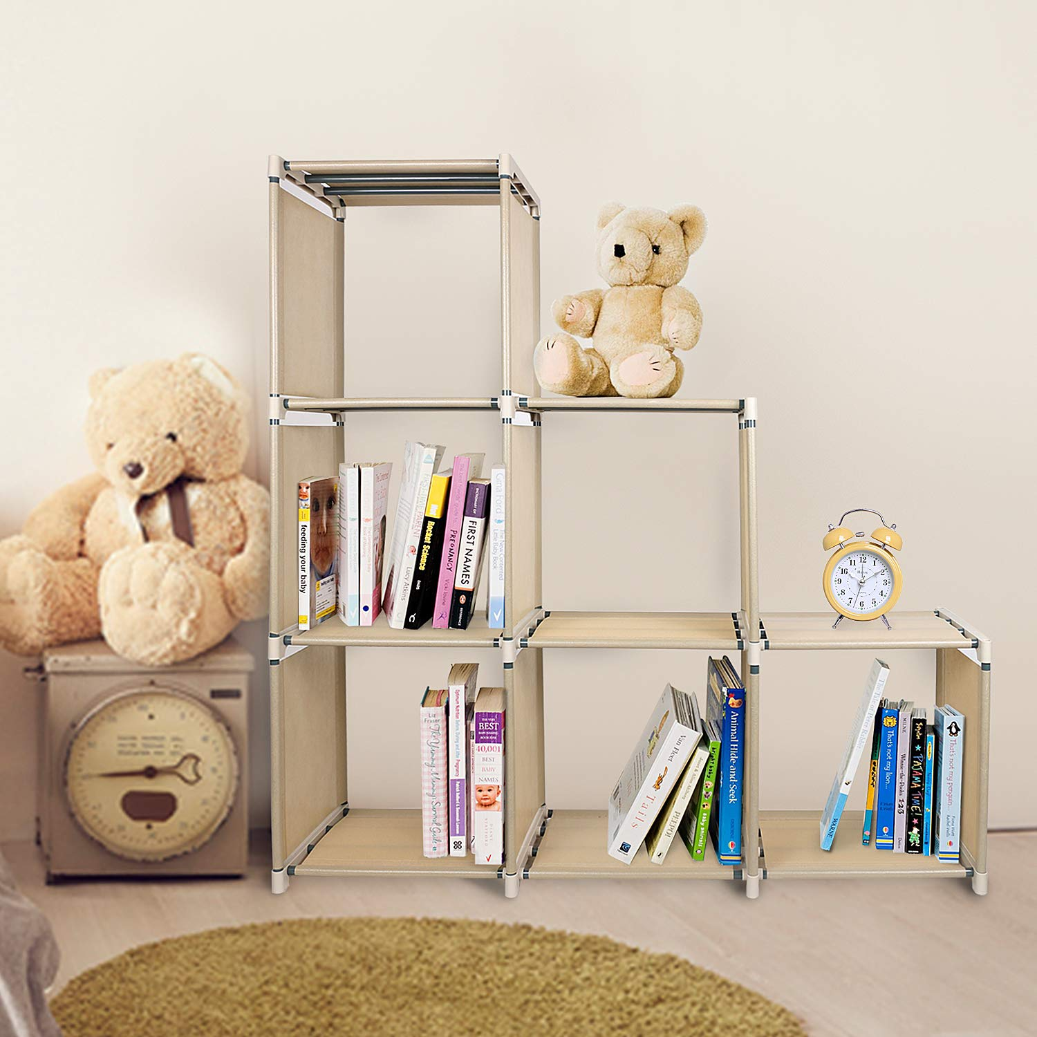 Azadx 6 Cube Storage Shelves, DIY Modular Closet Organizer Unit and Bookshelf Cabinet for Clothes, Toys, Books and Shoes