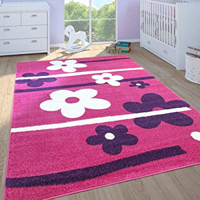 "Paco Home Kids Rug for Girls Bedroom Flower Design Area Rug Low Pile in Modern Pink Purple, Size:3'11"" x 5'7"": Home & Kitchen"