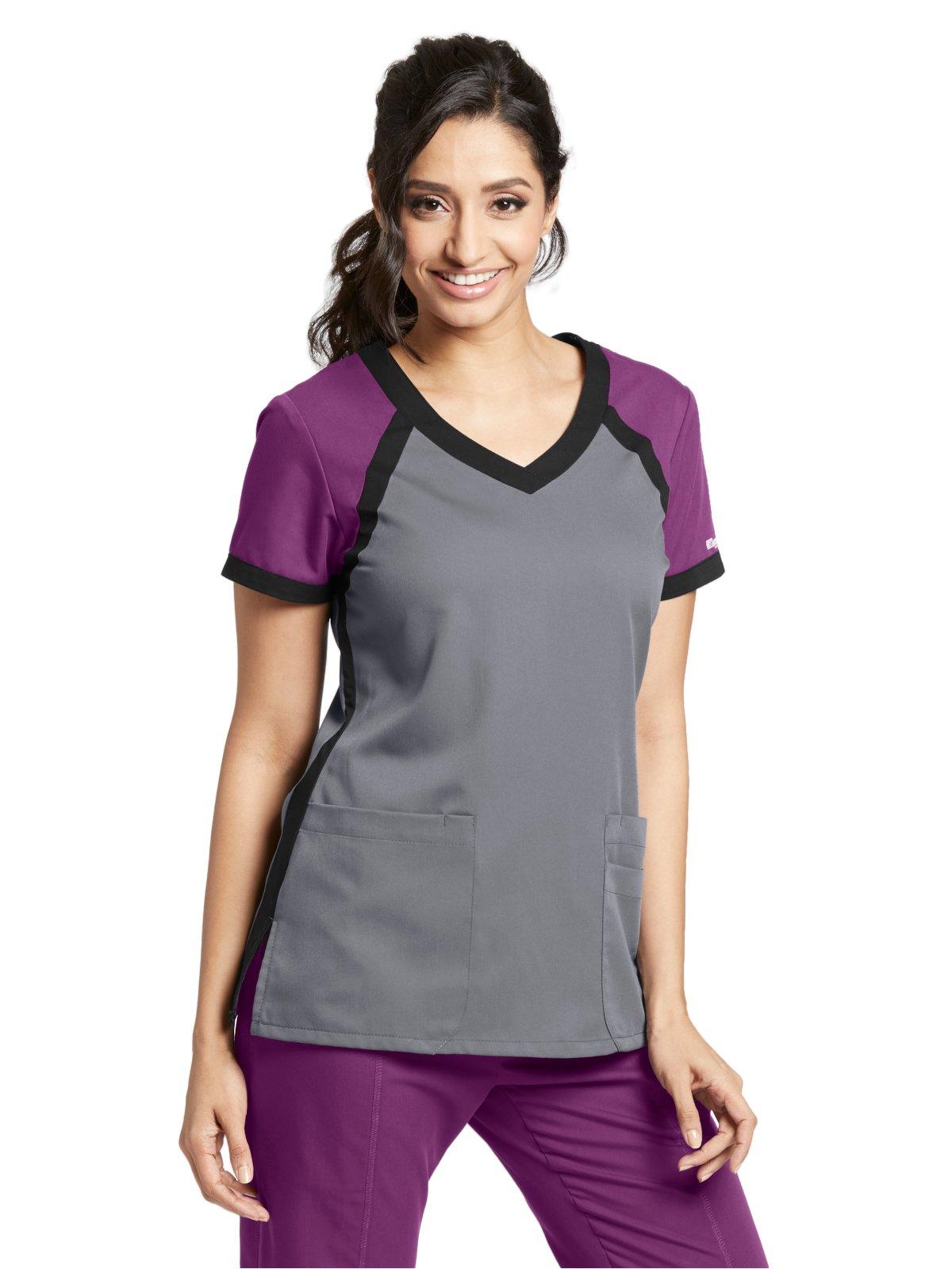 Grey's Anatomy Active 41435 Color Block V-Neck Top Granite/Very Berry/Black 2XL