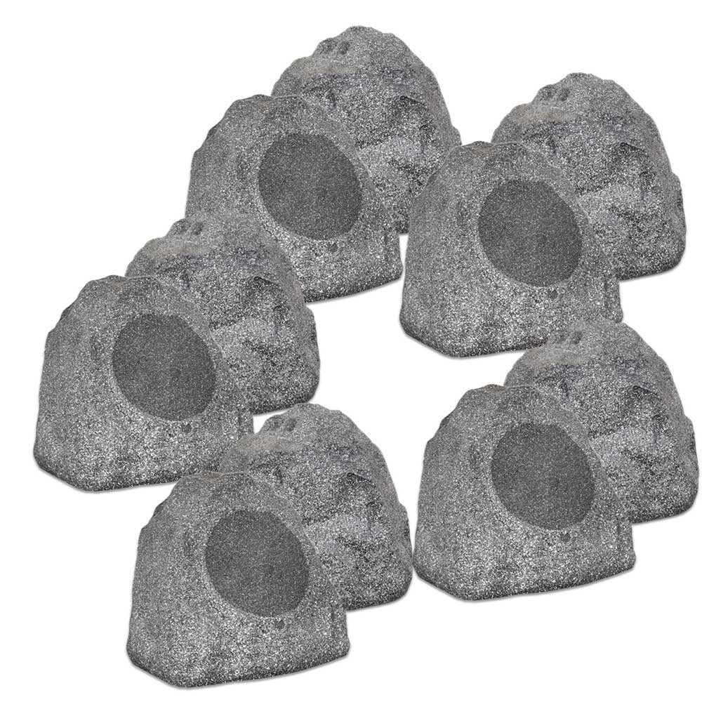 Theater Solutions 10R8G Outdoor Granite 8'' Rock 10 Speaker Set for Deck Pool Spa Yard Garden