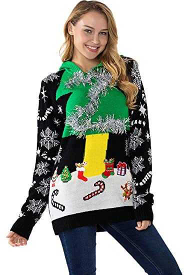 Womens Ugly Christmas Sweater Fluffy Snowman With Real Scarf Xmas