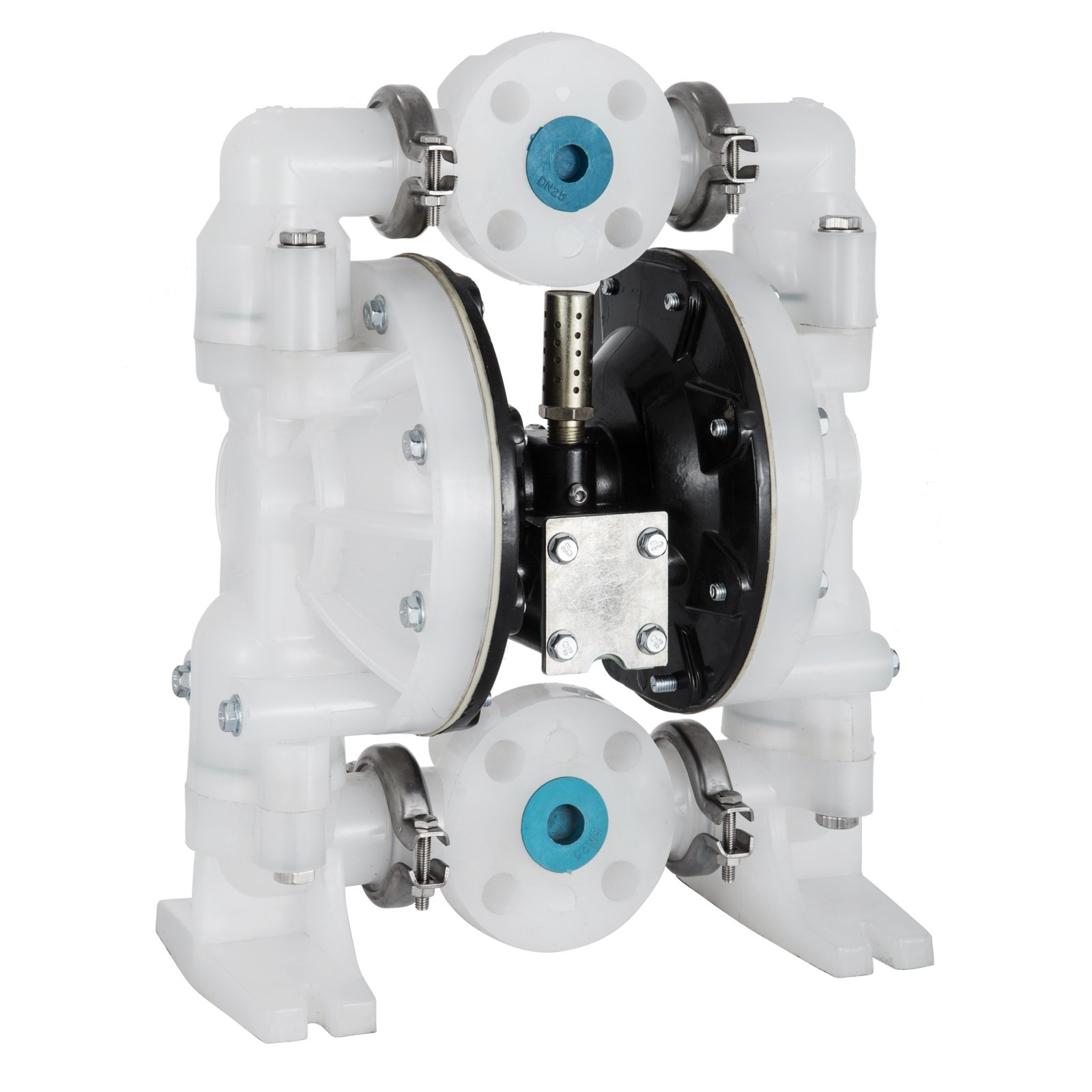 Happybuy Air-Operated Double Diaphragm Pump 72GPM Polypropylene Max 120PSI for Chemical Industrial Use