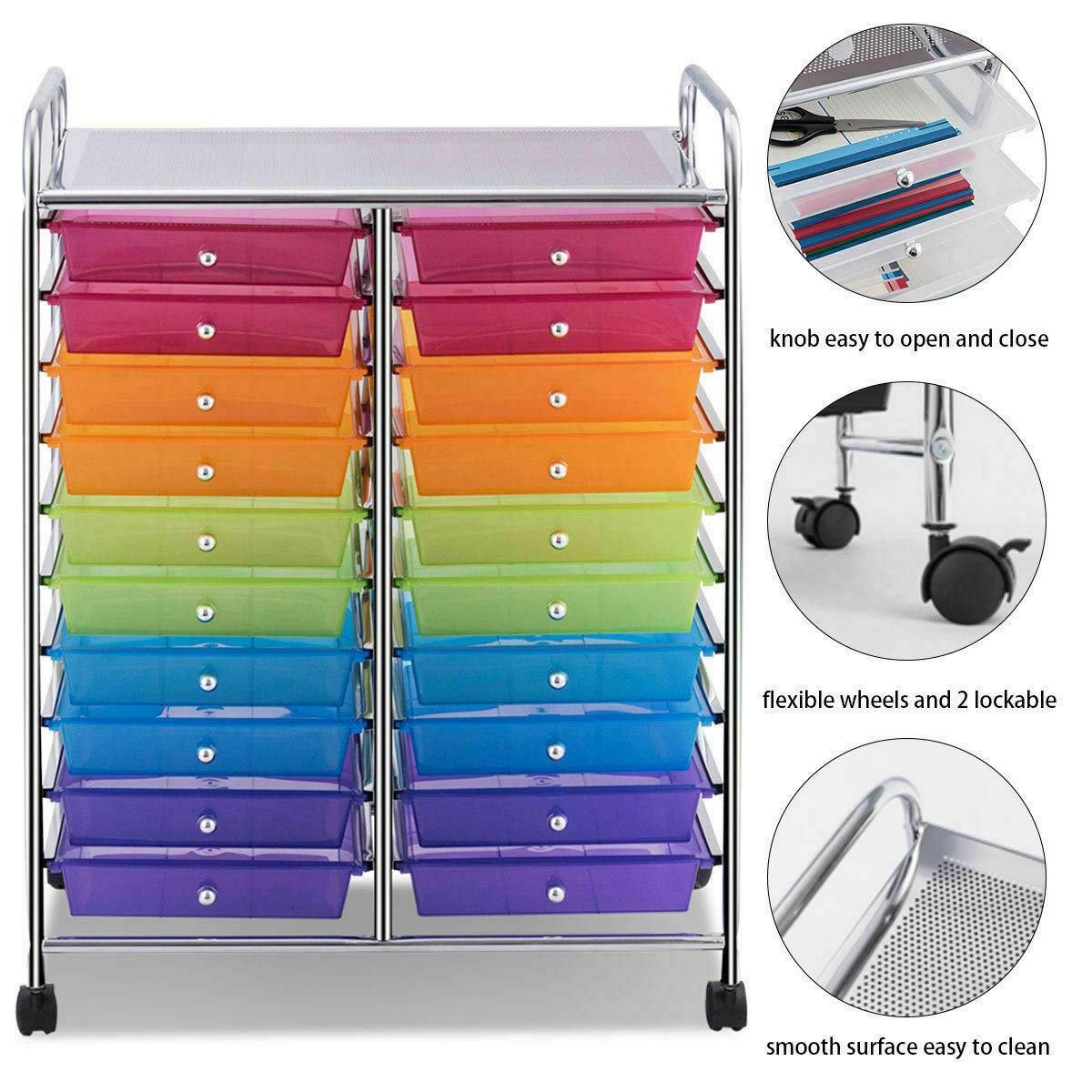 Mutli Color Rolling Scrapbook Paper Organizer School Office Studio Storage Cart w/ 20 Drawers with Ebook by FDInspiration (Image #5)