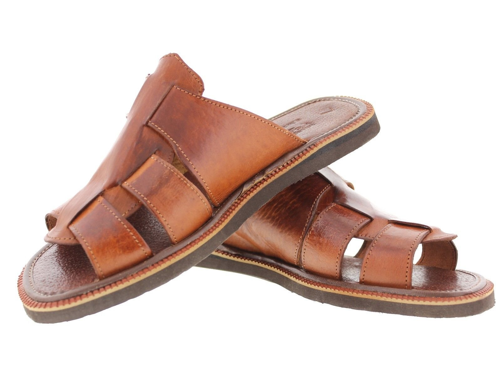 Men's 660 Rustic Cognac All Real Leather Mexican Slip On Huaraches Open Toe 7