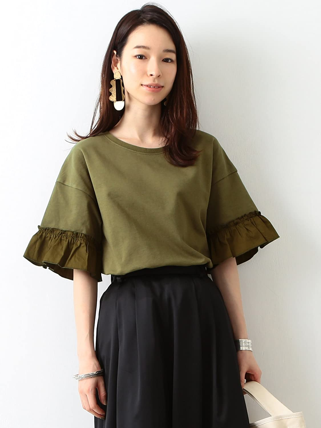 Amazon | (レイビームス) Ray BEAMS サテンギャザーSV PO ONE SIZE OLIVE | Amazon Fashion 通販