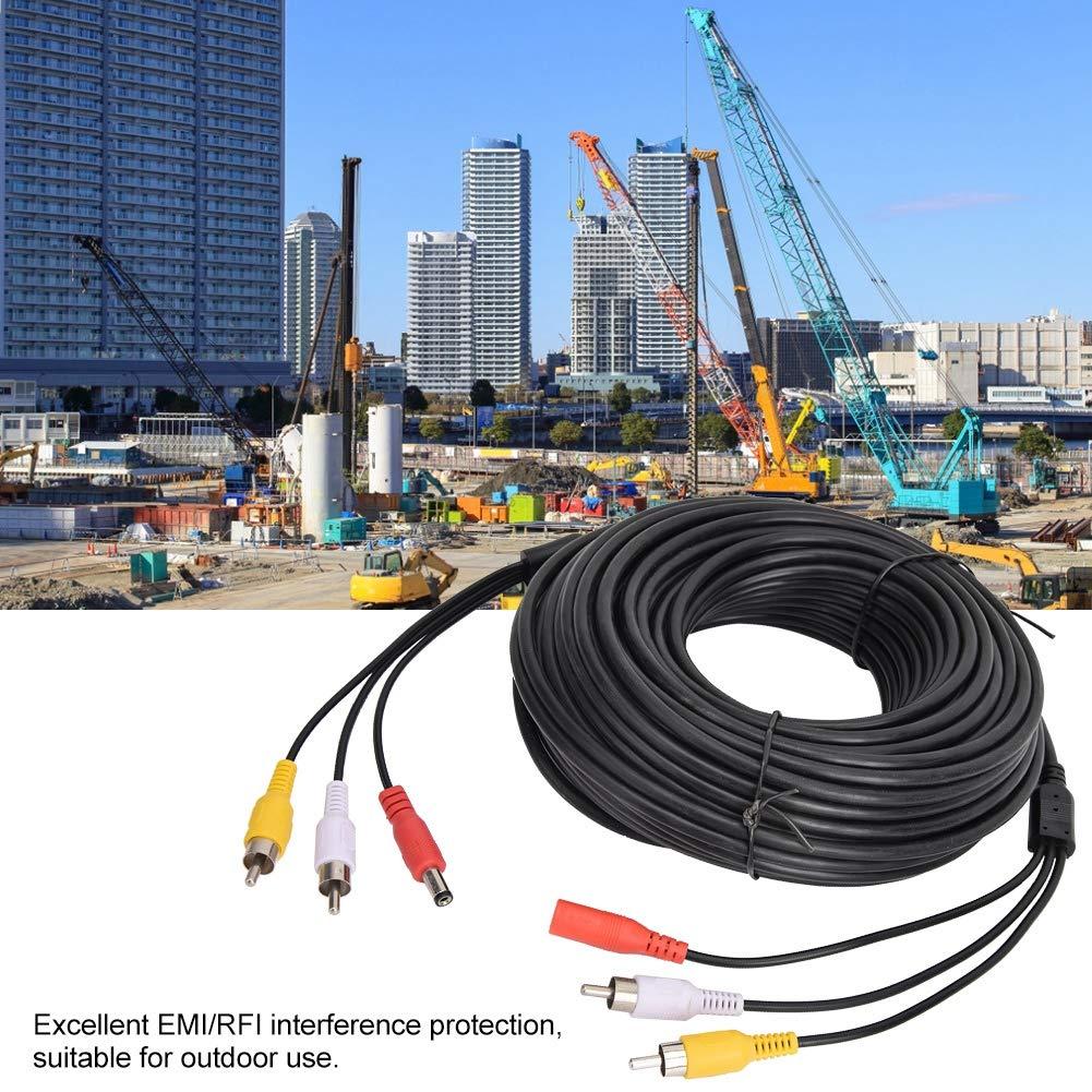 cable de extensi/ón de audio y video cable adaptador AV compuesto para CCTV Monitor de c/ámara de visi/ón trasera para autom/óvil 15m 3 en 1 Cable de alimentaci/ón de audio//video