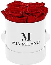 ® Boîte de roses avec 4 roses Infinity | Boîte à fleurs (boîte cadeau pour la Saint-Valentin) fleurs conservées 3 ans de durabilité (Blanc - Rouge)