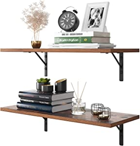 Homfa Floating Shelves Wall-Mounted Display Storage Ledge with Bracket for Bathroom, Kitchen, Living Room, Large 31.5X 11.6X 7.3in (Rustic Brown)