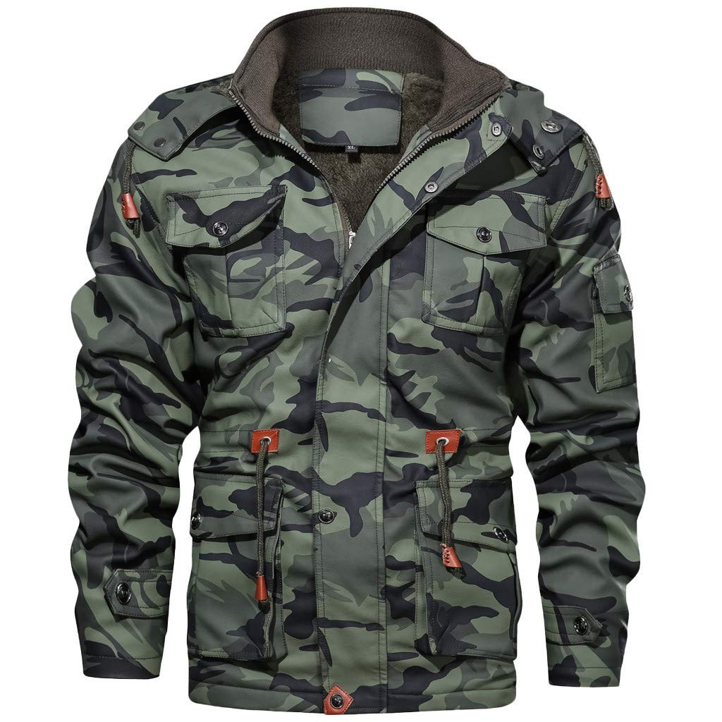 Mens Camo Jacket, Mens Autumn Winter Casual Vintage Long Sleeve Zipper Sports Outwear Hooded Sweatshirts Leather Coat by Mens Hoodies F_Gotal