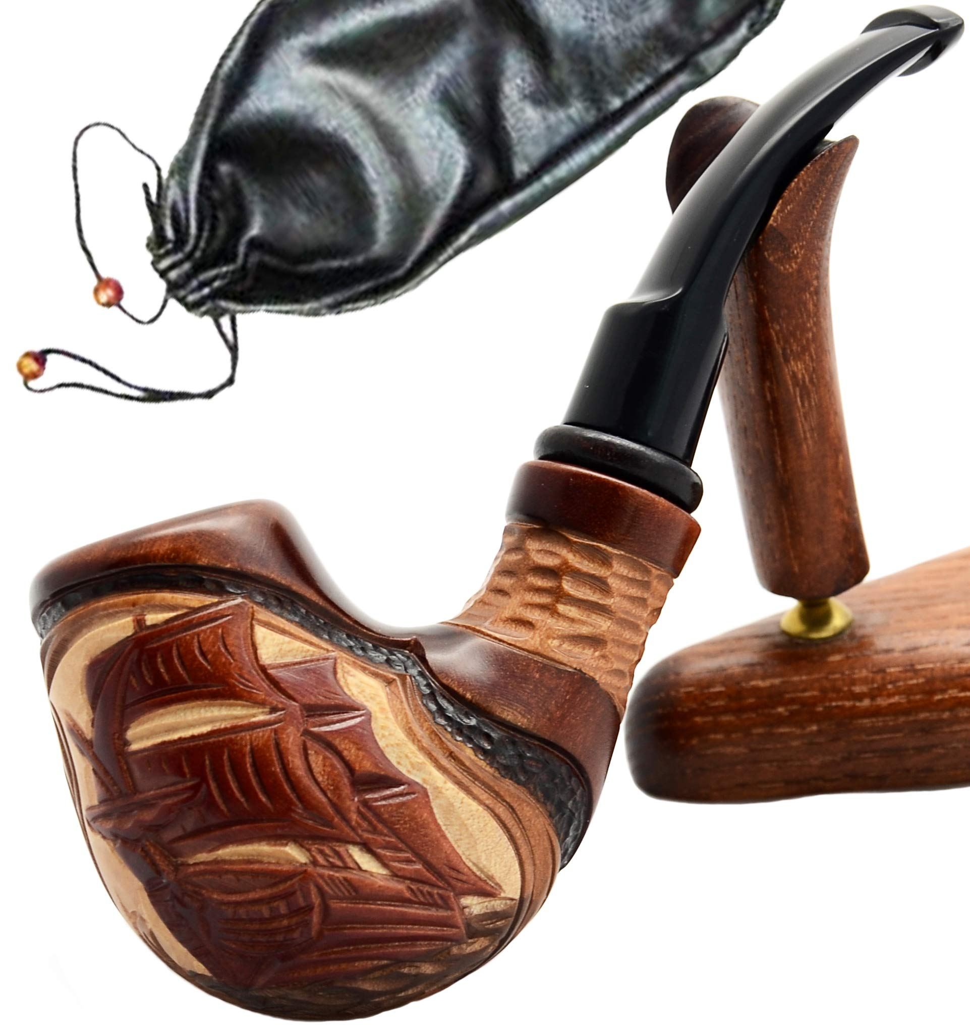 ''Ship II'' pear tree wood hand made wooden tobacco smoking pipe + Pouch by Ukrainian souvenir