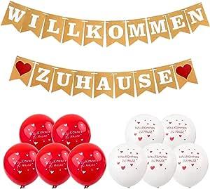 Banderines de bienvenida en casa, guirnalda de corazones para familia, fiesta, con 19 banderines y 8 globos para bodas, fiestas, viñetas, decoración vintage: Amazon.es: Juguetes y juegos
