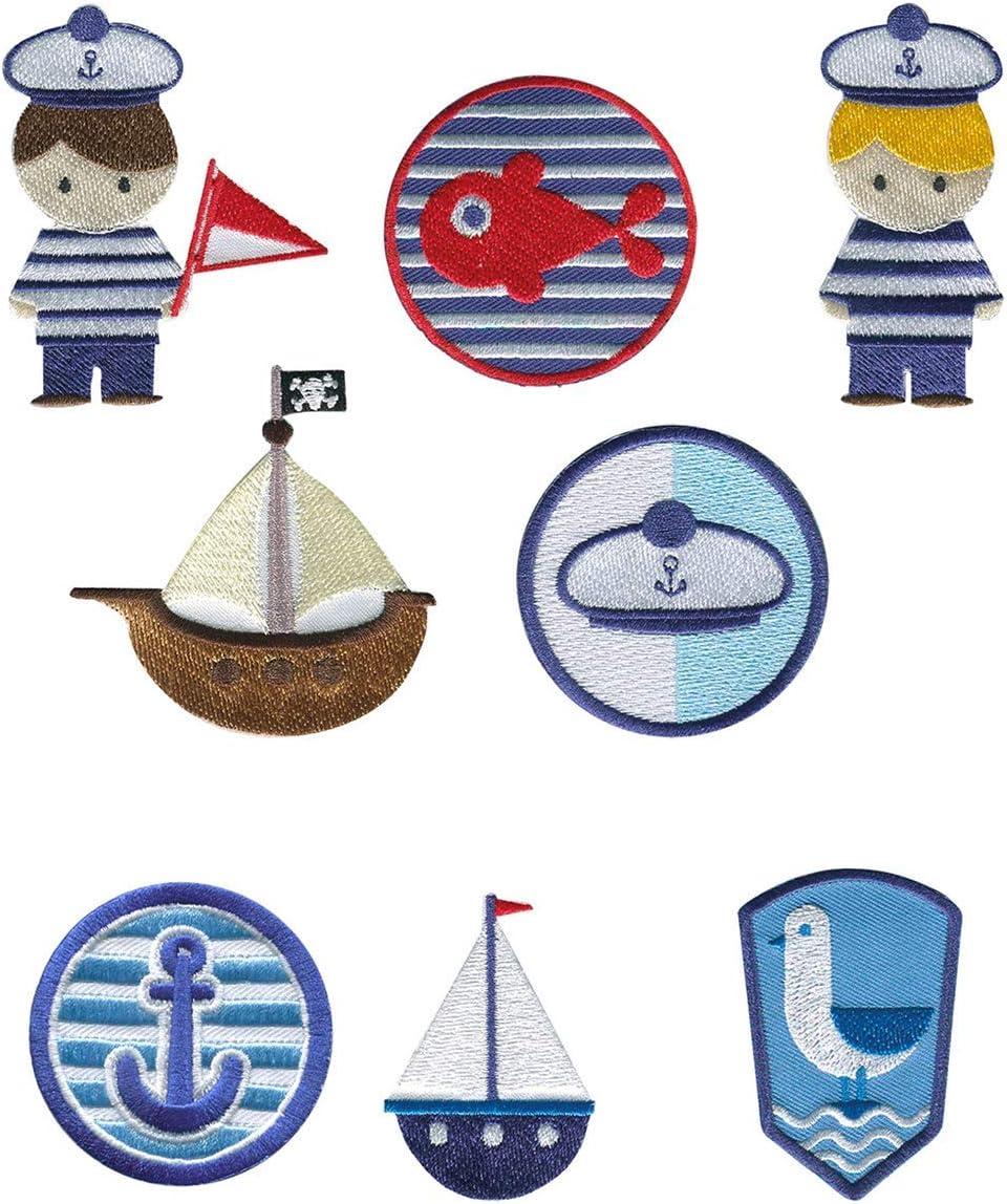 REF.8182-U8 8 parches marinero bordados para planchar