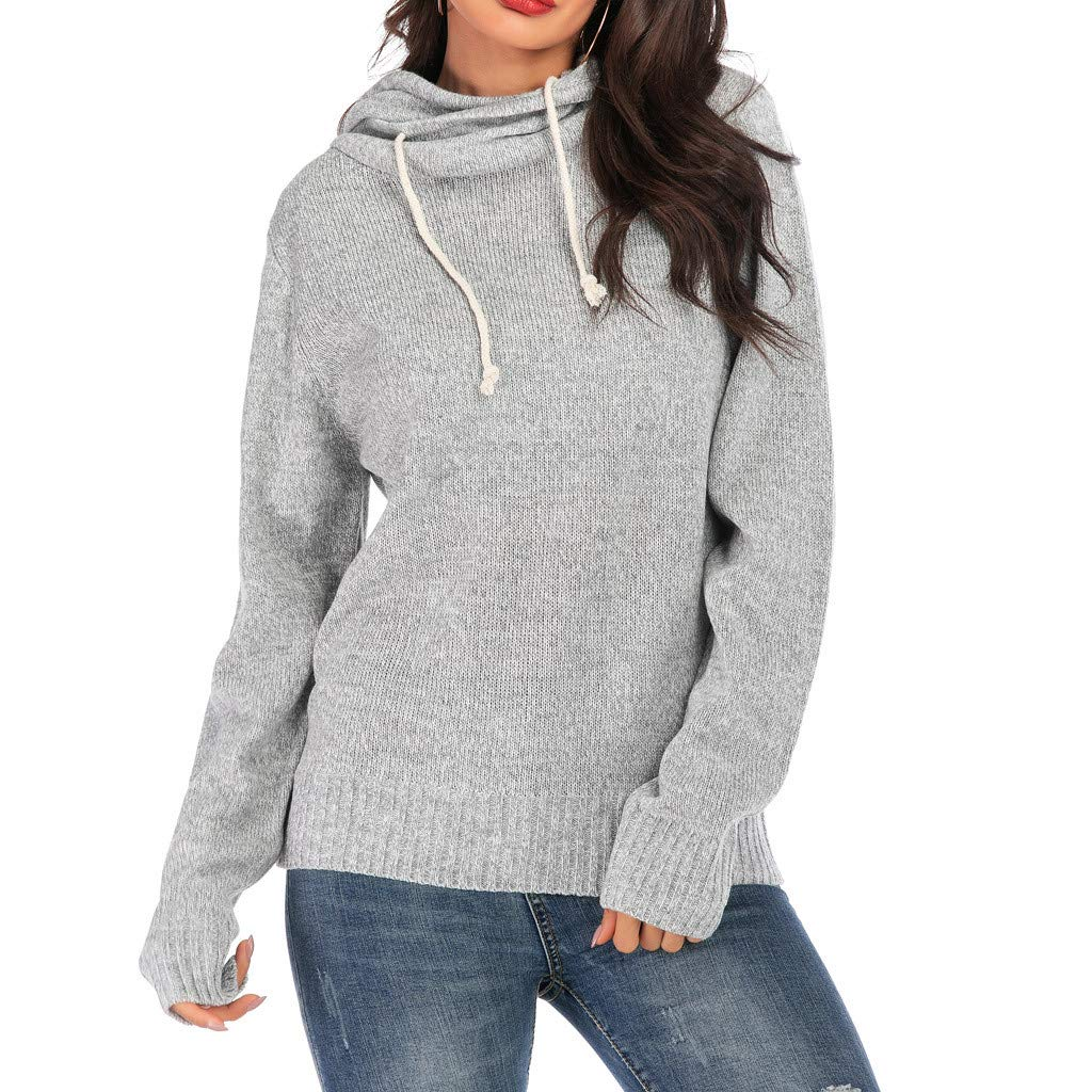 Women Hoodies Sweater Tops Solid Color Long Sleeve Knitted Sweatshirt Drawstring Chunky Tops Hooded Pullover Tunic SIN+MON Gray