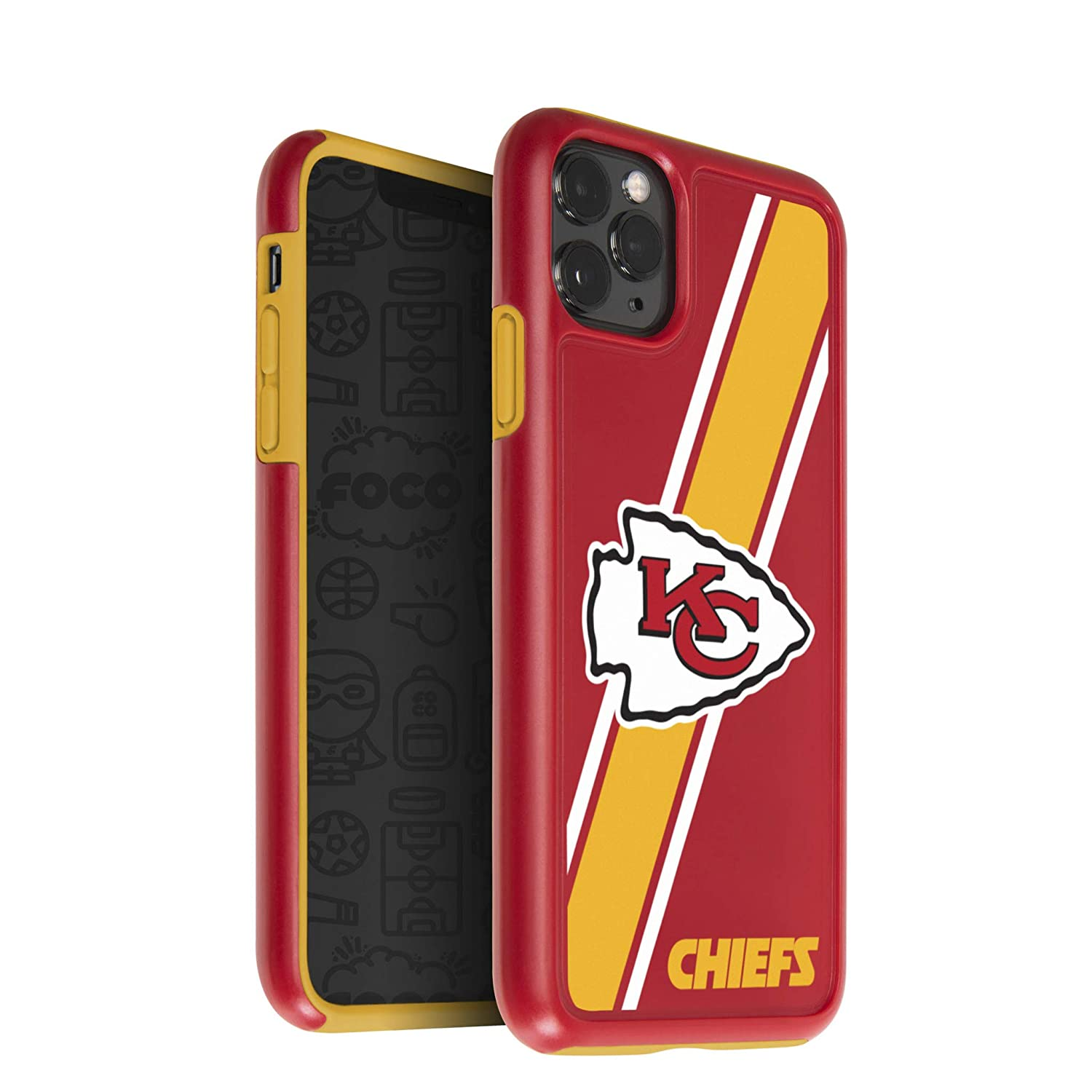 One Size FOCO NFL Kansas City Chiefs Unisex iPhone 11 Pro 5.8 Inch Screen Only Dual Hybrid Impact Licensed Case Team Color
