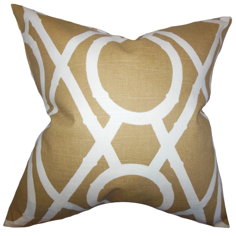 The枕コレクションp20-rob-latticebamboo-amber-c1 Whit幾何枕、オレンジ、20