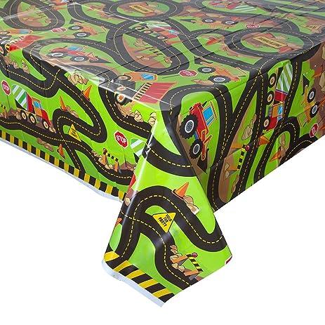Construction Truck Birthday Plastic Tablecloth, 84u0026quot; X 54u0026quot;