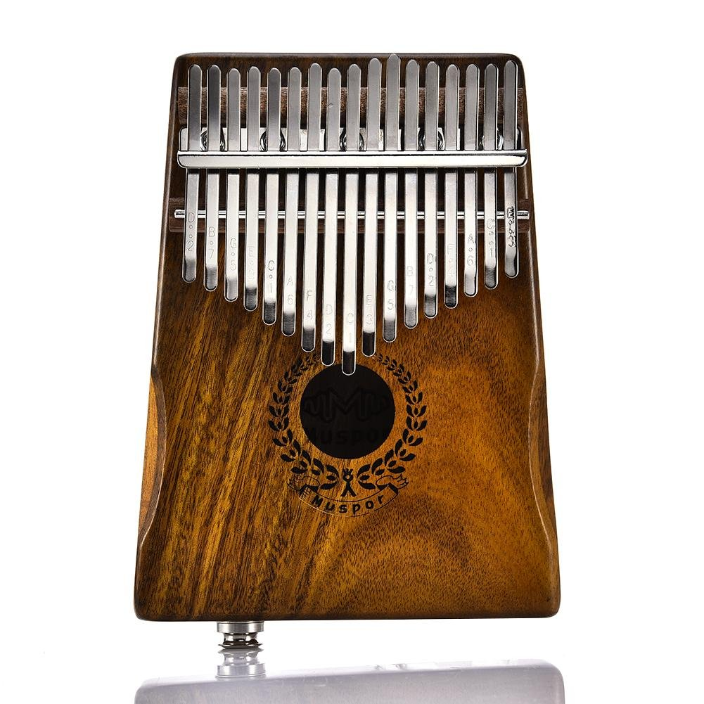 Telisii 17 Keys Portable Kalimba Solid Acacia Thumb Piano Link Speaker Electric Pickup Instrument With Bag Cable