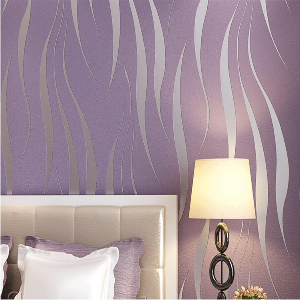 QIHANG 3D Stereoscopic Simple Striped Grass Leaf Thick Flocking Wallpaper Purple Color 0.53m x 10m=5.3m2