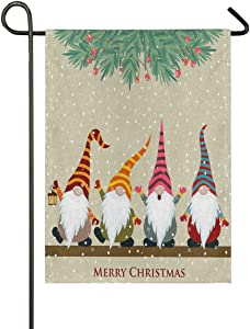 ALAZA Christmas Card with Gnomes Burlap Garden Flag Double Sided,House Yard Flags,Holiday Seasonal Outdoor Decorative Flag 12x18 Gift