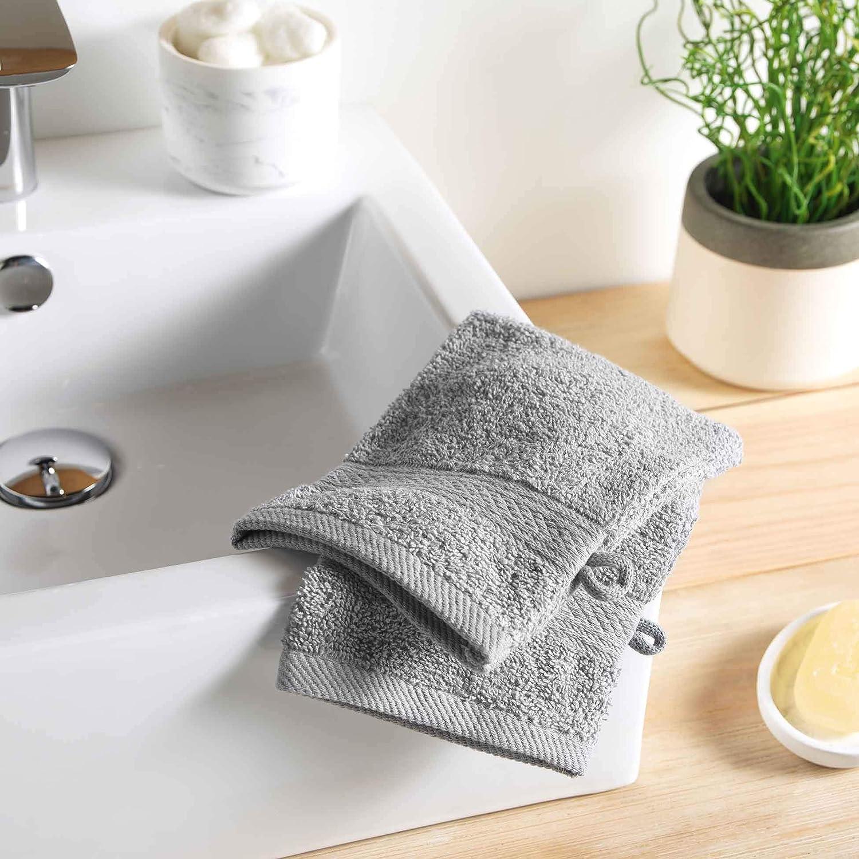 15 x 21 cm Grau 100/% Baumwolle Douceur dInt/érieur Colors 2 Waschhandschuhe