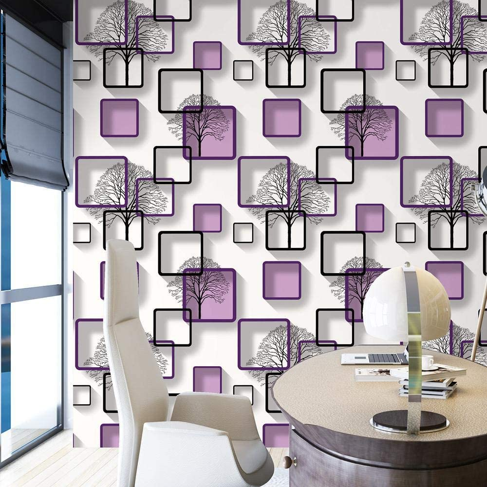 White Purple Blue Modern 3d Wallpaper For Living Room Bedroom Tv Background Home Decoration Squares Pattern Wall Paper Roll M00400 Painting Supplies Tools Wall Treatments Amazon Canada