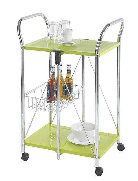 Wenko Sunny Carro de Cocina Plegable, Metal Recubrimiento de Polvo, Verde, 44x56.