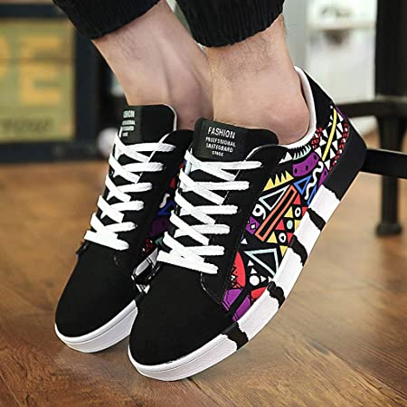 Amazon.com: Mens Casual Lace-Up Colorfor Canvas Sport Shoes Sneakers Graffiti Shoes: Sports & Outdoors