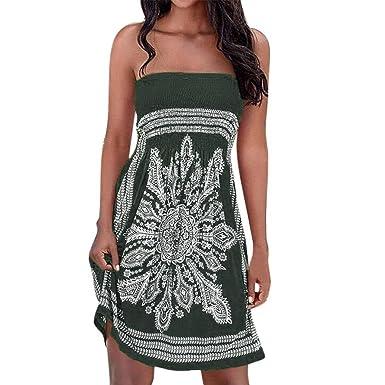 Lovely-Shop BohemianSexy Strapless Floral Mini Beach Dress Beach Party Dress Sundress Vestidos,Navy