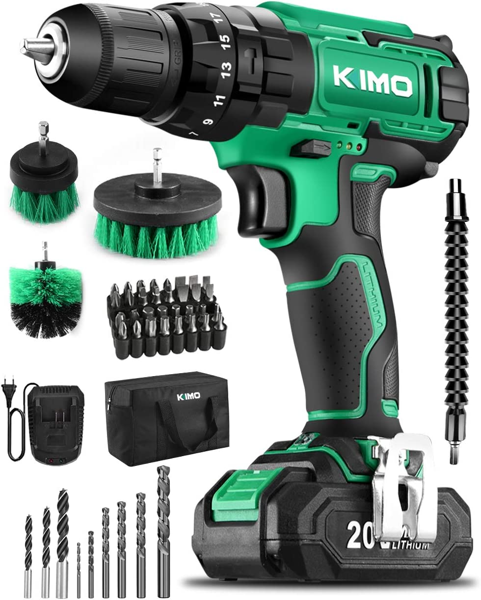 """KIMO Cordless Drill Driver Kit, 20V Impact Drill Set w/Lithium-ion Battery/Charger & Cleaning Brush, 350 In-lb Torque, 3/8"""" Keyless Chuck, 21+1+1 Clutch, Variable Speed & LED for Metal Concrete Wood"""