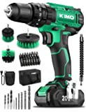 KIMO Cordless Drill Driver Kit, 20V Impact Drill Set w/Lithium-ion Battery/Charger & Cleaning Brush, 350 In-lb Torque, 3…