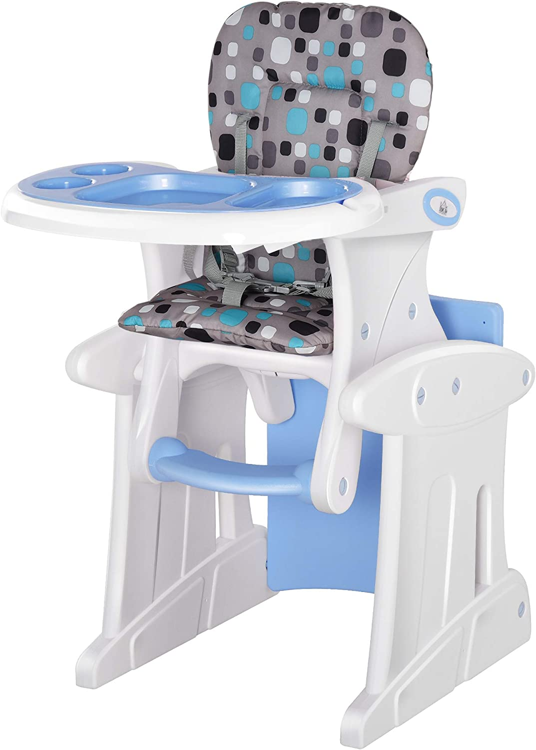HOMCOM 3 in 1 Convertible Baby High Chair Toddler Table