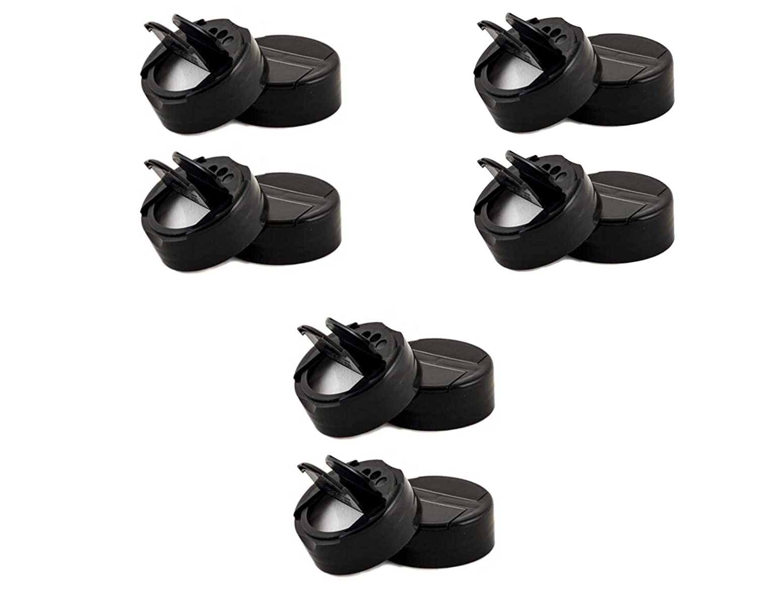 Mini Spice Plastic Pour/Sift Lids- 1 3/4 inch with Foam Liner-BPA Free-Made in the USA (4, black)