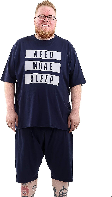 Brooklyn Talla Grande Hombre Pijama Pantalones Cortos & Top Need More Sleep Grande y Alto 3XL-6XL