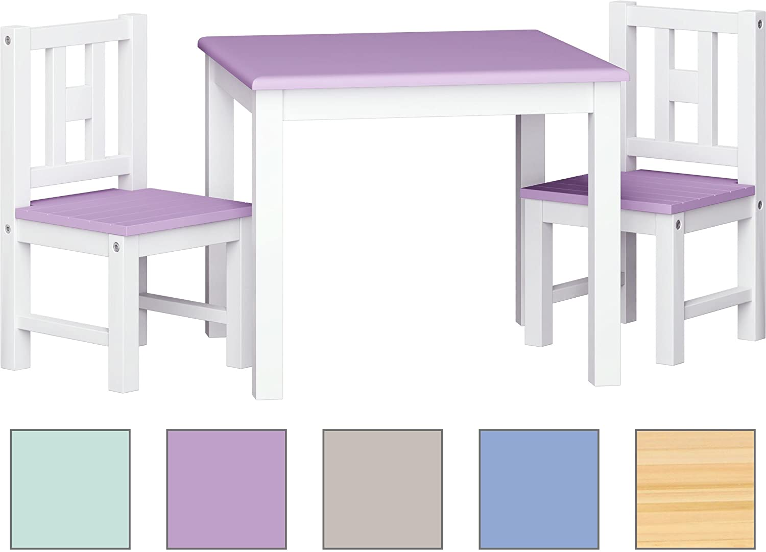 ib style® Luca Colors Children's Table and Chairs Set |Wooden | Table + 2 Chairs | White- Silvergrey IB-Style