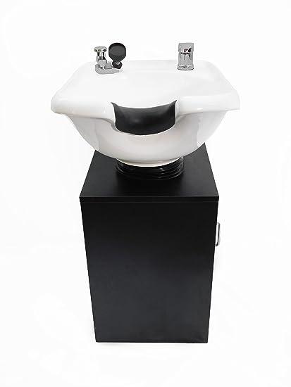 Tilting White Ceramic Beauty Salon Shampoo Bowl Salon Sink With Shampoo  Cabinet TLC W33TILT