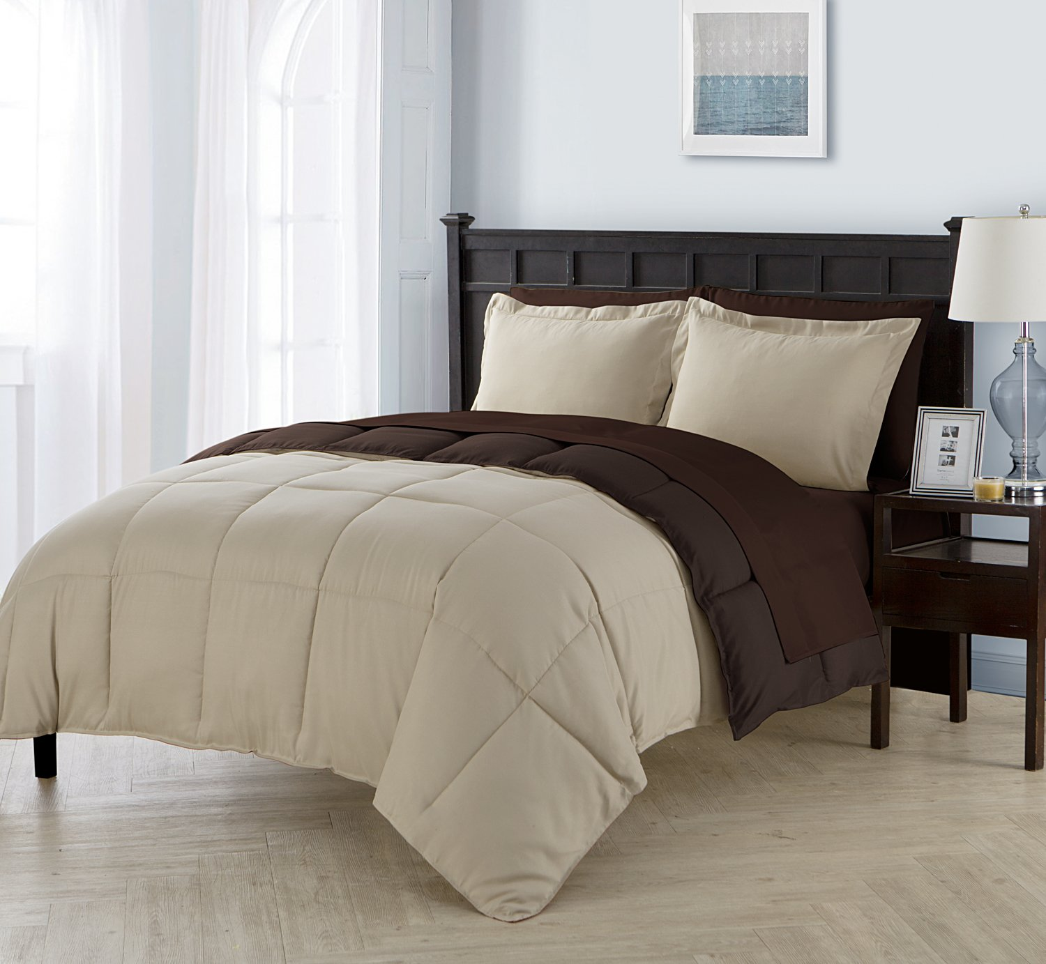 Full Size Complete BED-IN-A-BAG Reversible in Taupe / Brown Contrasting Colors 7 Pc Set w/ Sheets
