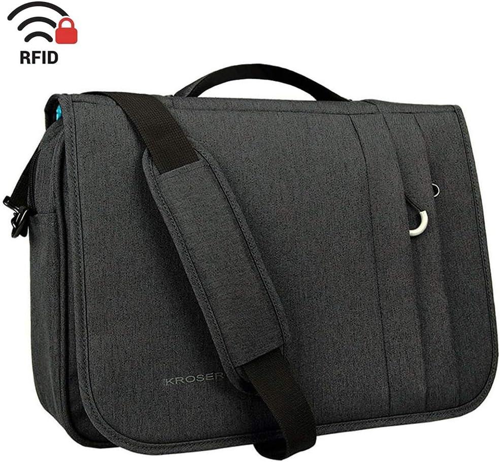 KROSER Briefcase Laptop Messenger Bag 16 inch Laptop Bag Water-Repellent Flapover Computer Case Business Shoulder Briefcase with RFID Pockets for Business/College/Men/Women - Charcoal Black