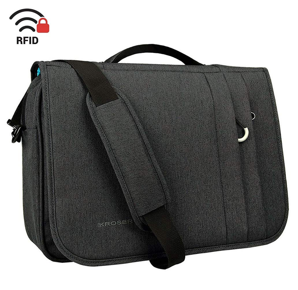 KROSER Briefcase Laptop Messenger Bag 16 inch Laptop Bag Water-Repellent Flapover Computer Case Business Shoulder Briefcase with RFID Pockets for Business/College/Men/Women - Charcoal Black by KROSER