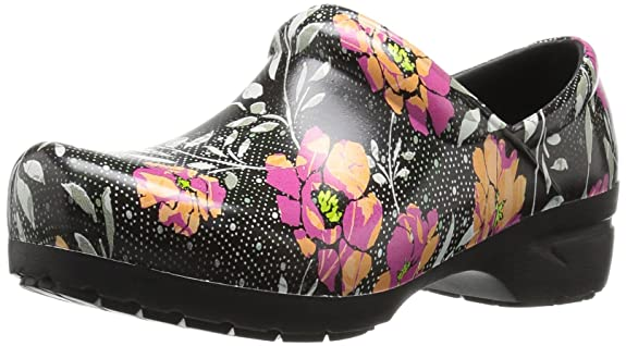 AnyWear Women's Srangel Health Care and Food Service Shoe, Black/Pink/Orange, 11 M US