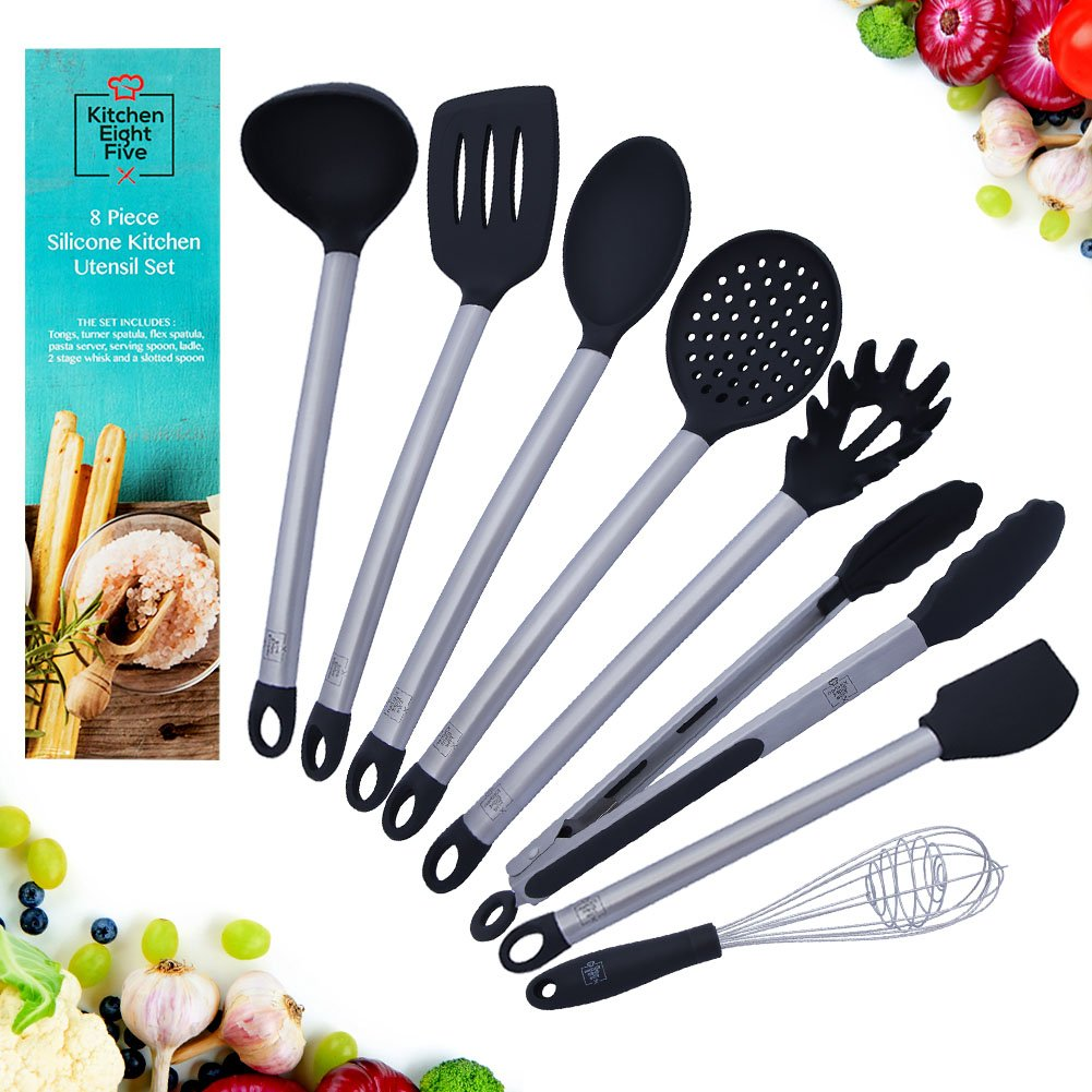 Kitchen Eight Five Set of 8 Kitchen Utensils- Nonstick, Heat Resistant Stainless Steel & Silicone Cooking Spatulas- Includes Tongs, Serving Spoon, Pasta Server, Ladle, Whisk, 2 Spatulas, & Strainer