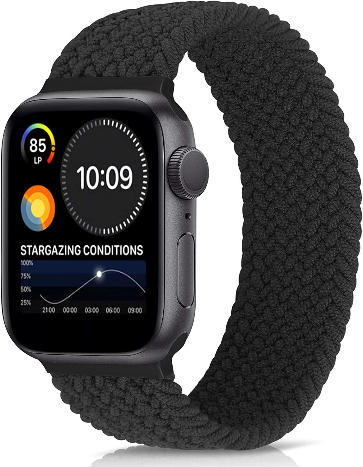 Unnite Braided Stretchy Solo Loop Band Compatible with Apple Watch 42mm 44mm, Sport Straps Nylon Woven Elastic Watch Bands Compatible for iWatch Series 6/5/4/3/2/1/SE Women Men (Black, 42mm/44mm:#6)