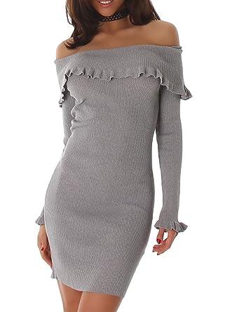 Voyelles Damen Kleid Mit Carmen Ausschnitt Schulterfrei Und Langarm