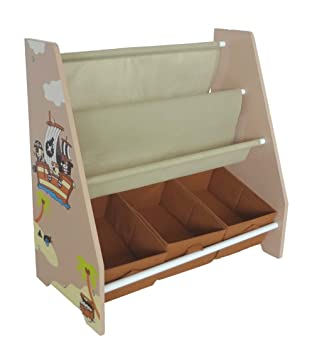 Bebe Style Childrenu0027s Pirate Wooden Storage Rack Sling Bookcase