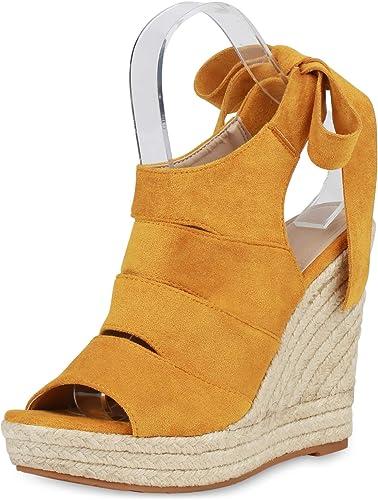 Damen Plateau Sandaletten Keilabsatz High Heels Bast Wedges Schuhe