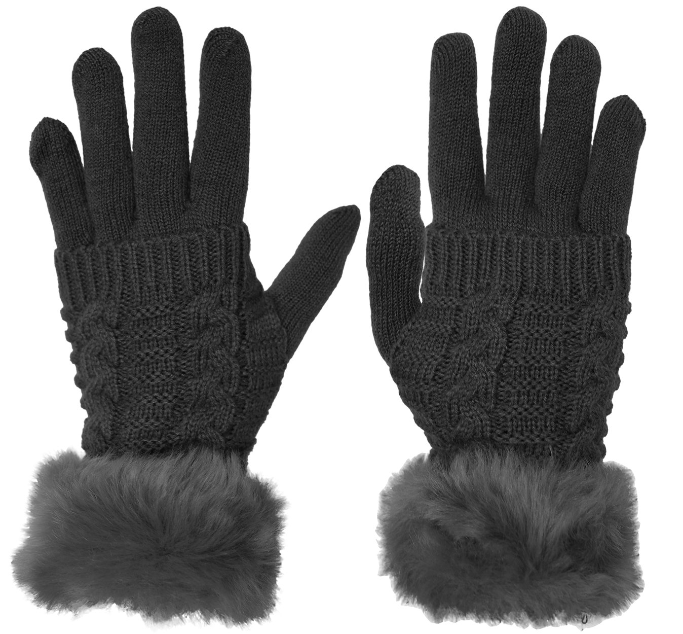 KMystic Women's Knit Gloves and Fur Hand Warmer Set (Grey)