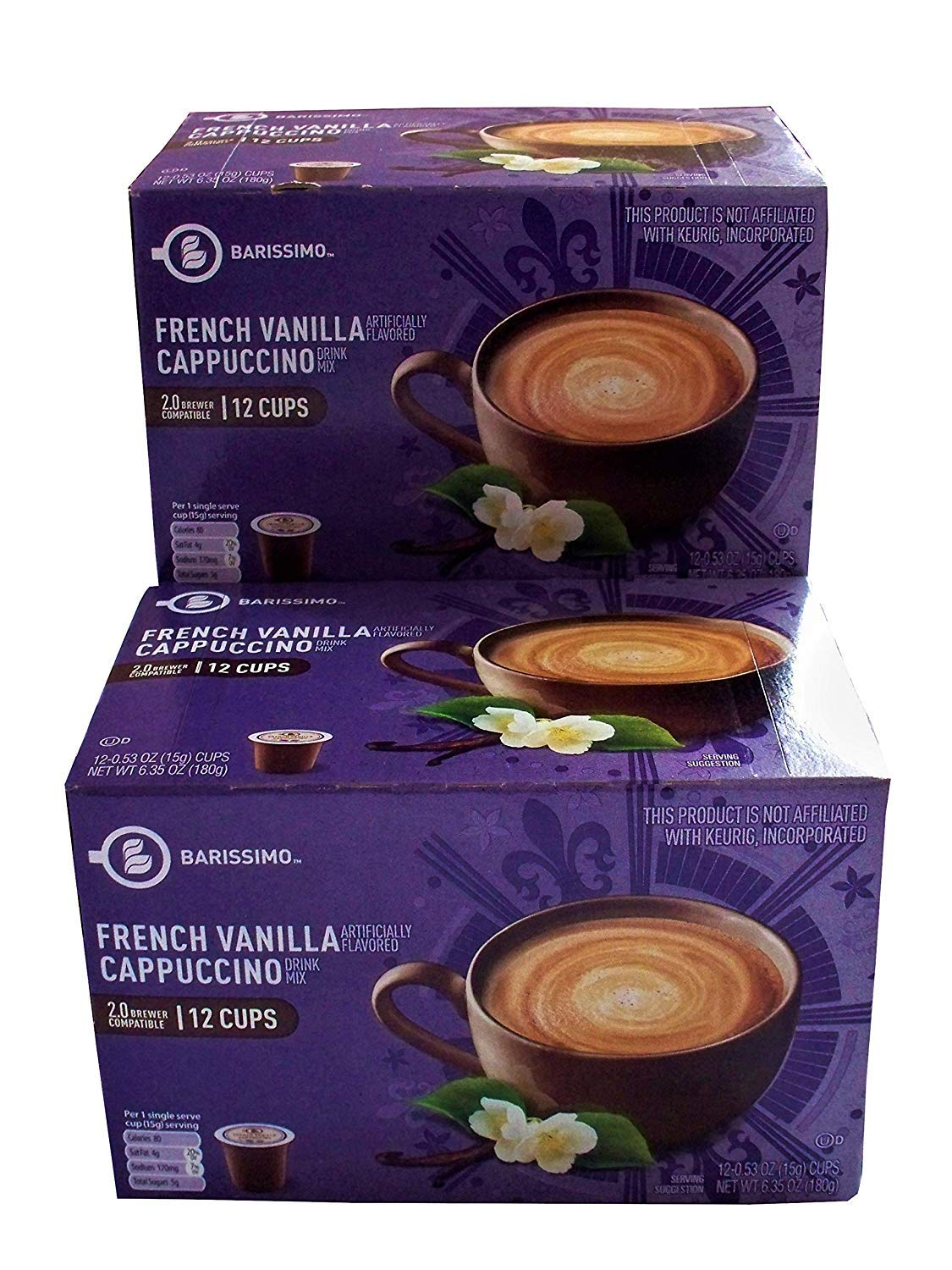Barissimo French Vanilla Cappuccino Coffee Cocoa Pods 2 Pack K-Cup Compatible